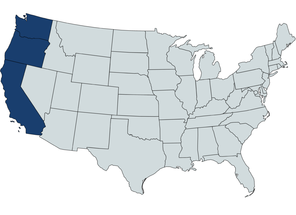 map of the states that mennonite insurance covers: California, Oregon, Washington , Arizona
